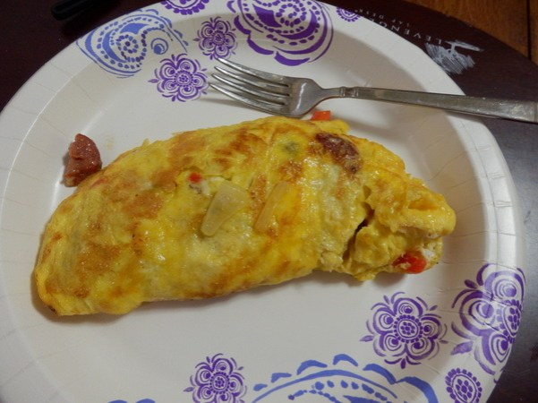 Cooked Omelette on the plate and ready to eat