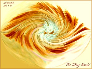 Abstract in reds, yellows and browns, oval spiral shape edge to edge horizontal