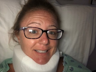 Heather Lowey- The Inner Mean Girl- Image of Heather in neck brace in hospital