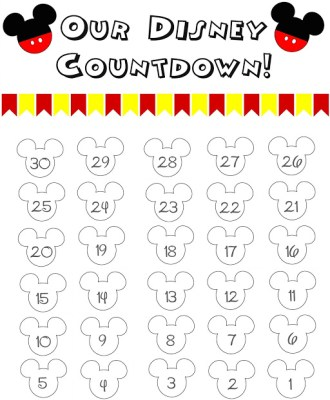 Disney World Countdown Calendar – FREE Printable!!