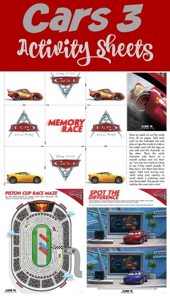 cars 3 activity sheets
