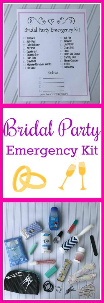 Bridal Party Emergency Kit, Printable Wedding Emergency Kit