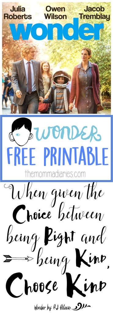 Wonder the movie free printable, Choose kind printable, kindness printable, be kind printable