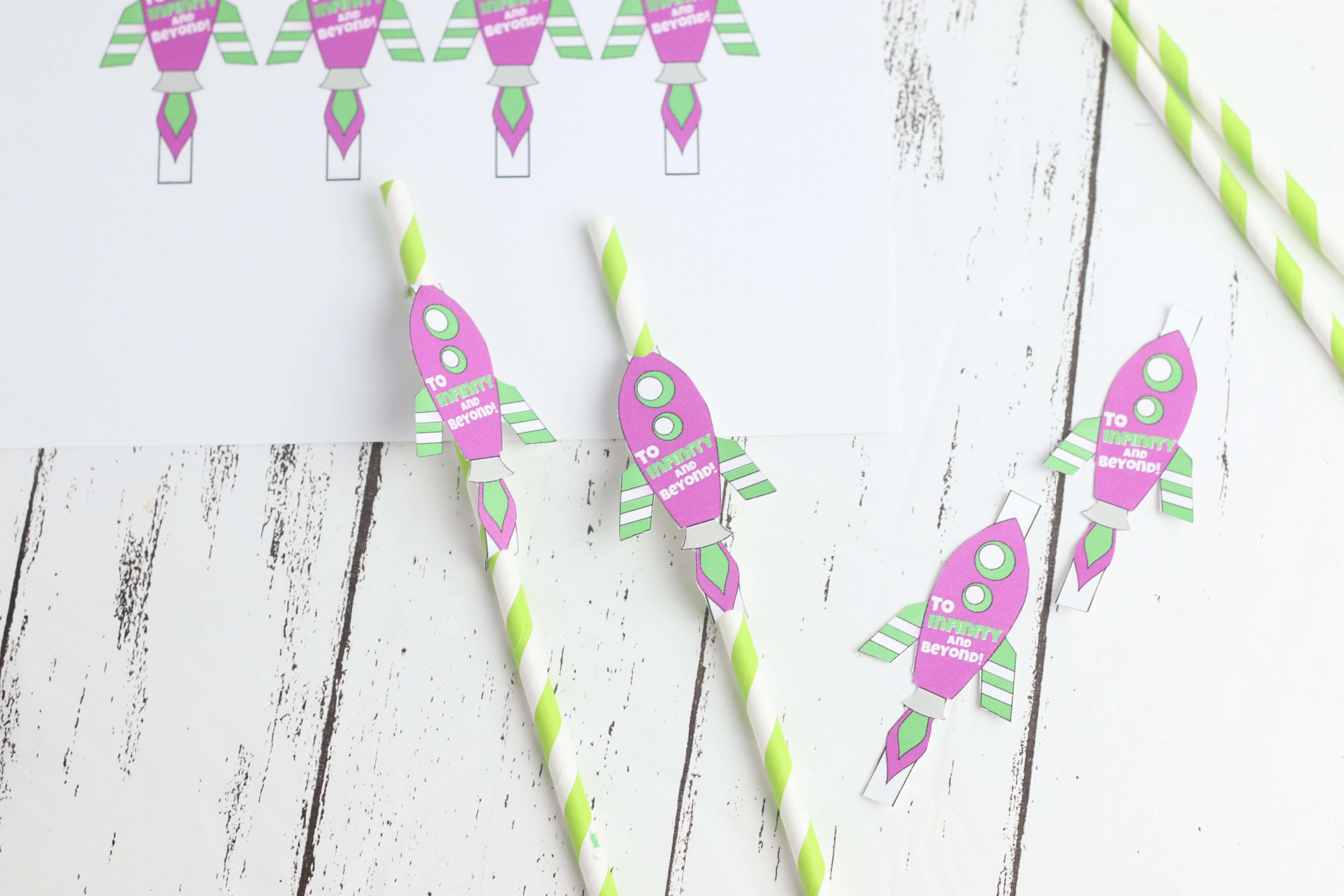Printable Buzz Lightyear Rocket straw toppers