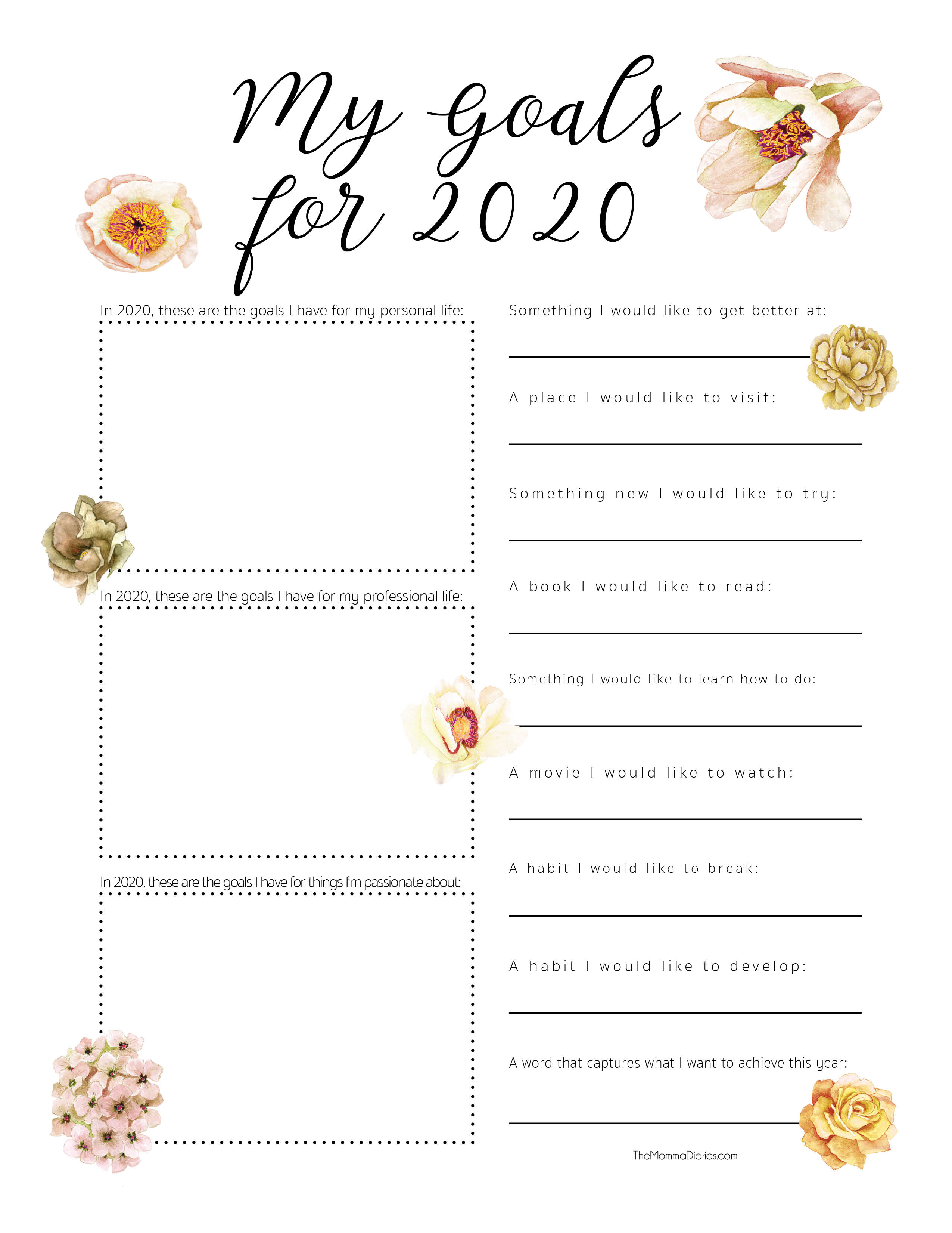 2020 printable goal setting sheet