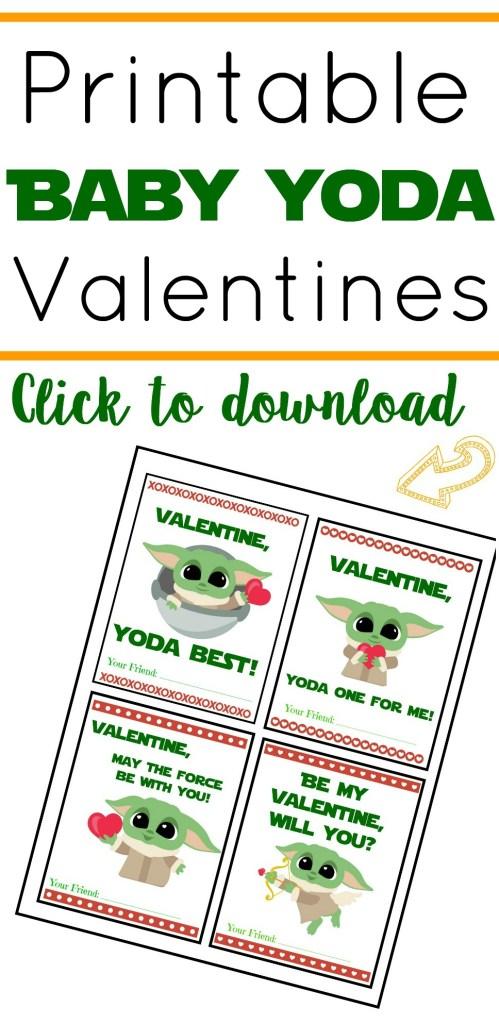Printable Baby Yoda Valentines, Baby Yoda Valentine's Day Cards