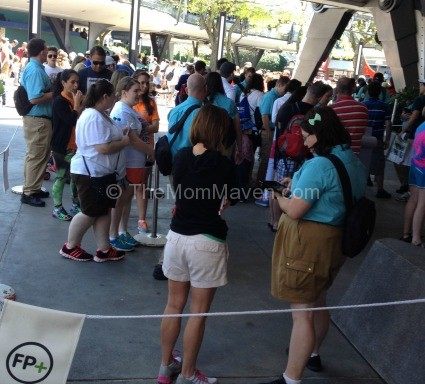 FastPass+ Kiosk line in Tomorrowland