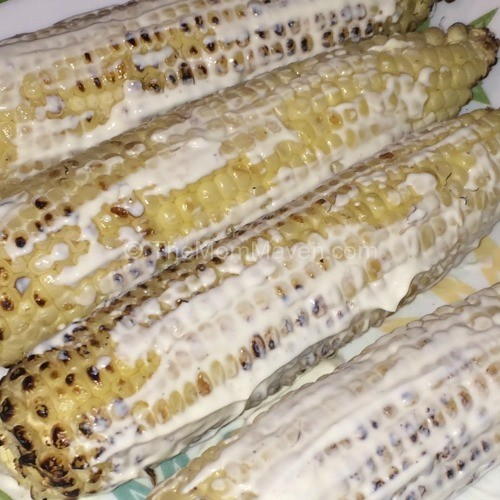 Slathered with Sauce-Mexican Grilled Corn-TheMomMaven.com