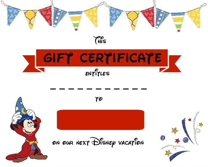 Printable Disney Gift Certificate