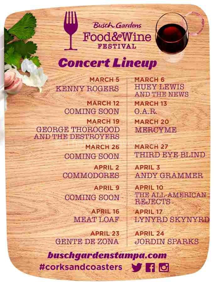 2016 Busch Gardens Food & Wine festival Concert Line-up