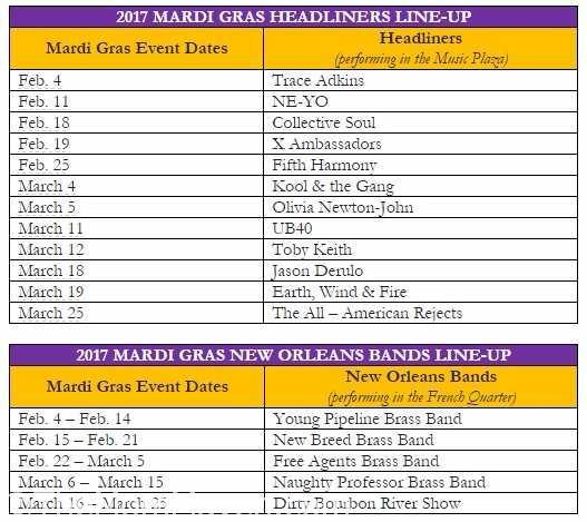 2017 Universal Orlando Mardi Gras Musical guest lineup