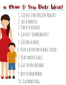 10 Mom & Son Date Ideas! printable