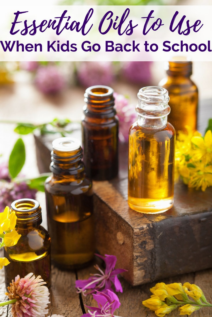 back to school essential oil blends with oil bottles