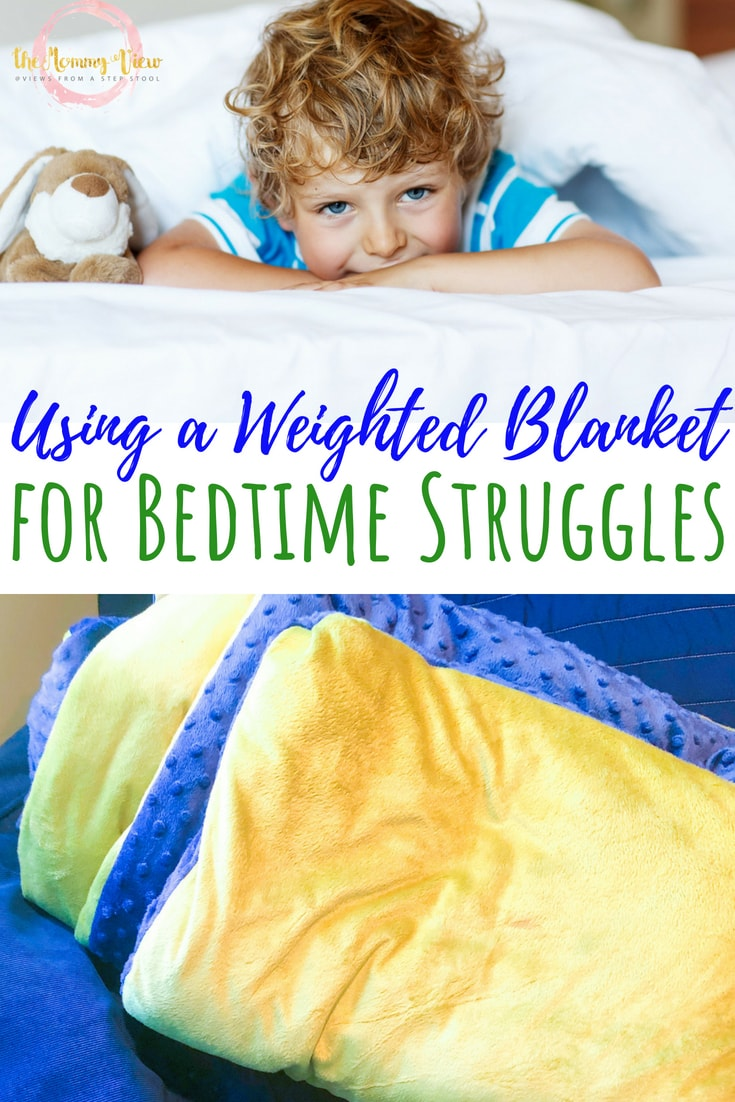 collage of boy in bed under blanket and minky green and blue weighted blanket with text overlay 'using a weighted blanket for bedtime struggles'