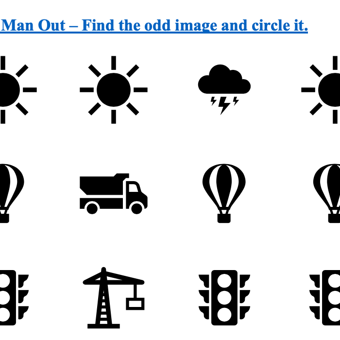 Odd man out-Preschool Printable