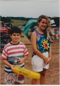A humiliating image of the author, her brother, and the hippy tents at the 20th Woodstock Reunion in 1989