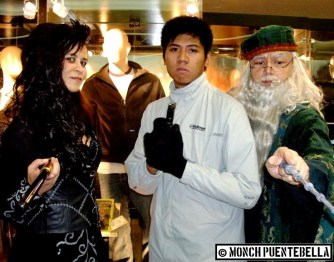 Circa 2011, with Karen as Bellatrix and Sir Gerard as Dumbledore. I'm dressed as James Bond in his winter outfit.