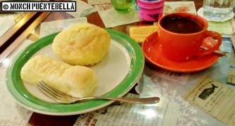 From left: Cheese Roll, Ensaymada, and Mary Grace Hot Chocolate.