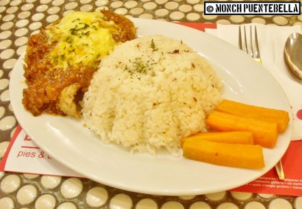 Chicken Parmigiano (P215): Chicken fillets topped with red pasta sauce and topped with cheese, served with garlic rice and buttered carrots.