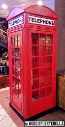 The iconic red telephone booth.