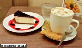 (L) Blueberry Cheesecake, (R) Cafe Latte.