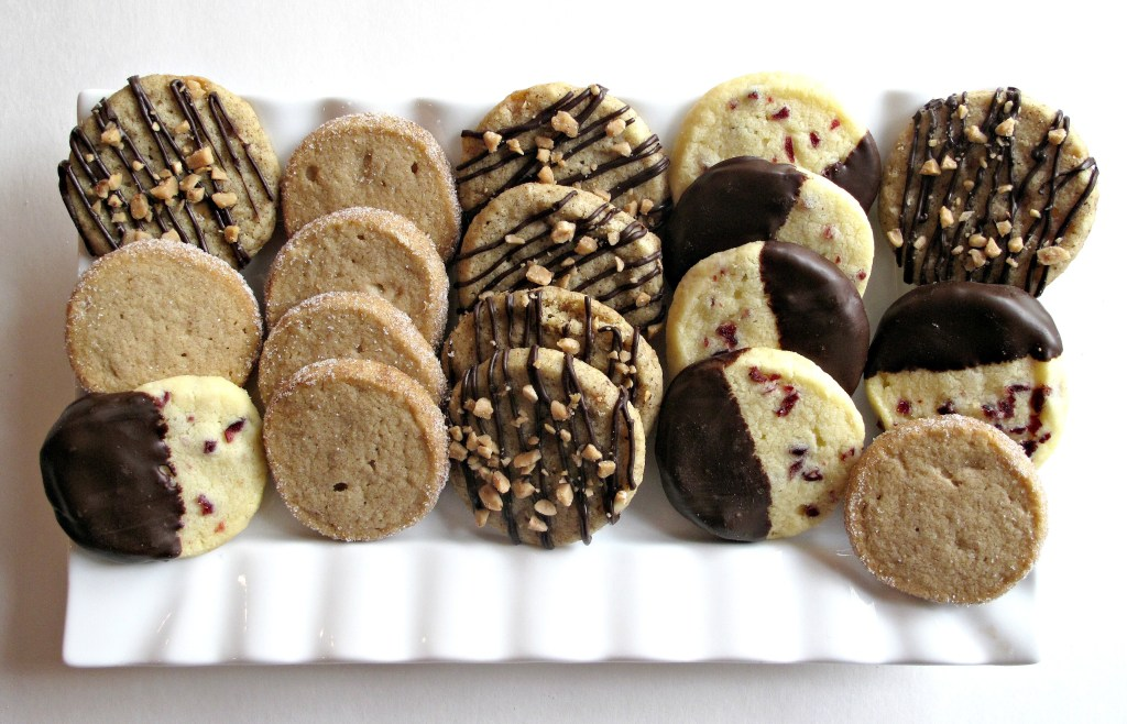 Three flavors of Slice-and-Bake Shortbread on white platter