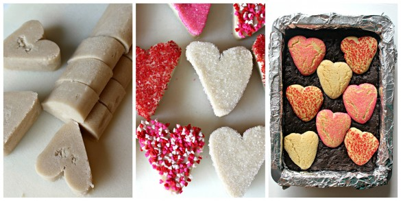 Sugar Cookie Valentine Brownies process photos for decorating and baking heart shapes