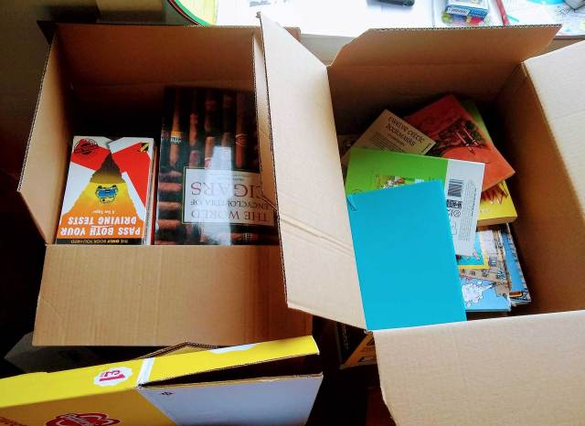 Boxes of books to be sold