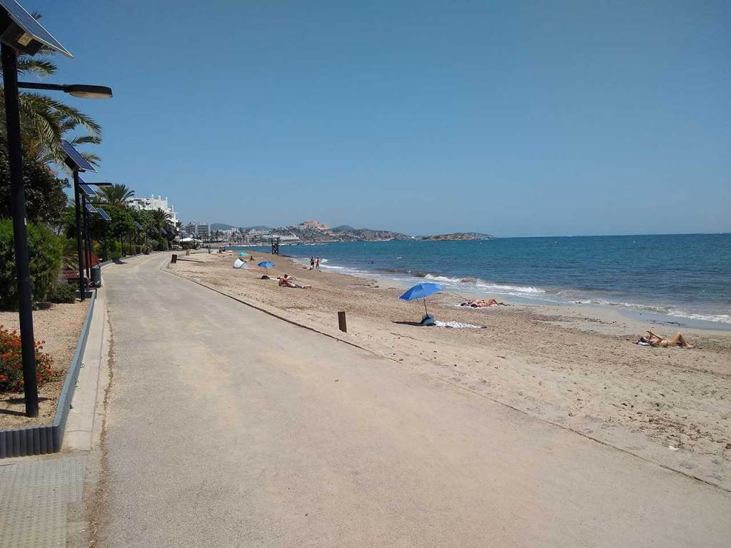 Playa D'en Bossa beach looking towards Ibiza town