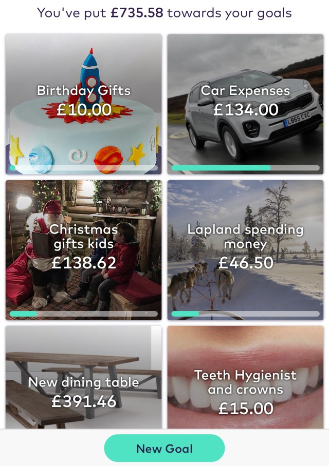 screen shot of starling bank app showing pots for birthday gifts with £10, car expenses with £134, Christmas gifts kids £138.62, lapland spending money £46.50, new dining table £391.46, teeth hygienist and crowns £15.00
