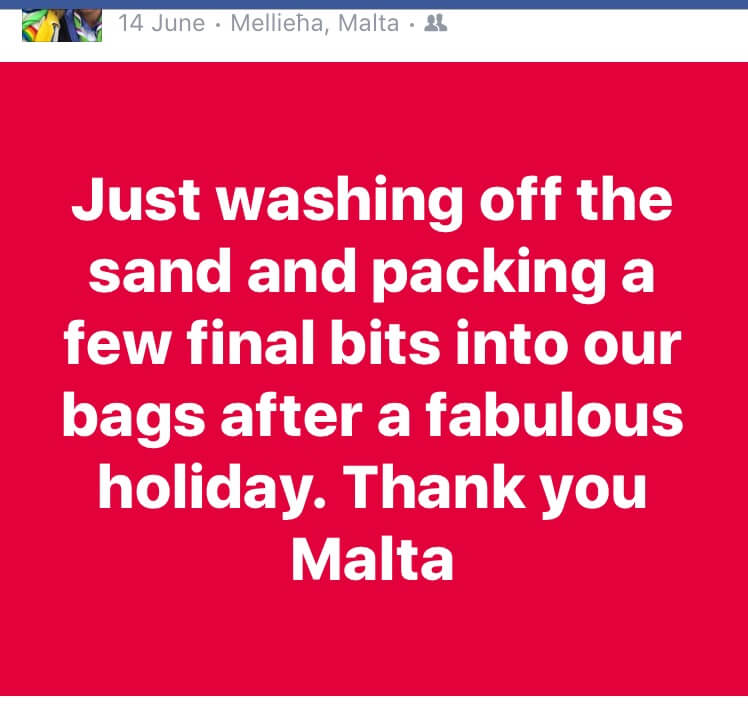 Facebook post advertising on social media you are on holiday 1