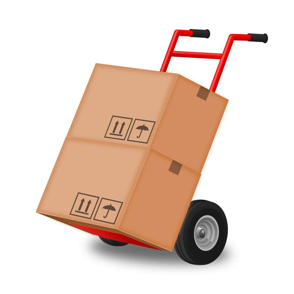 Boxes on removal trolley for making a big house move