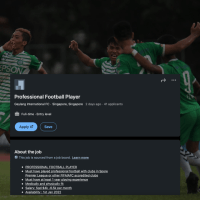 41 footballers have applied on Linkedin to play for Geylang International.