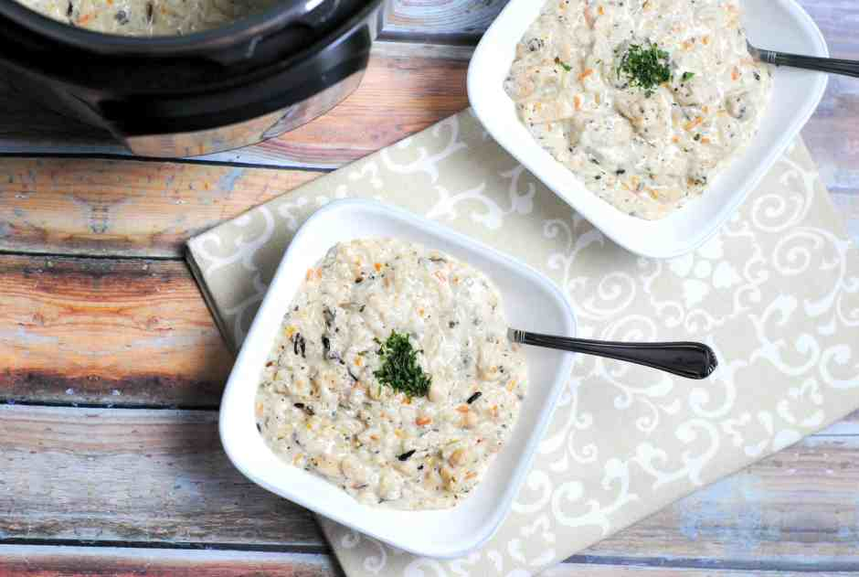 Instant Pot Creamy Chicken & Wild Rice Soup. Easy, Delicious, Hearty! www.themoodyblonde.com