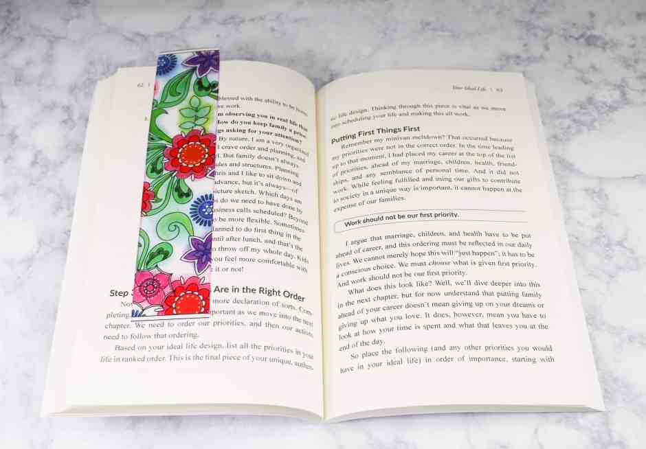 DIY Custom Bookmark sitting in the middle of a book