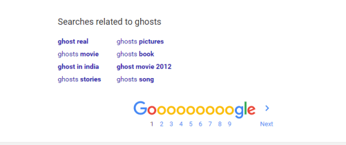Google Searches Related to Ghosts