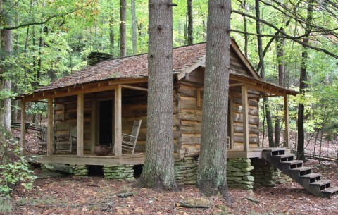 Log Cabin from Tsali Ghost Story Cherokee North Carolina.
