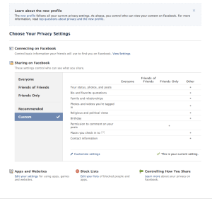 Privacy Settings Main Screen