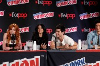 "SHADOWHUNTERS - The cast and creators of ABC Family's ""Shadowhunters"" appear at New York Comic-Con on October 10, 2015 to discuss the new series. ""Shadowhunters"" premieres Tuesday, Jan. 12 at 9 p.m. ET on ABC Family. (ABC Family/Lou Rocco) KATHERINE MCNAMARA, EMERAUDE TOUBIA, MATTHEW DADDARIO, HARRY SHUM JR."