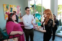FREEFORM - ABC Family Becomes Freeform today and Celebrates with a daylong multi-platform social event where fans can interact with musical artists, visual artists and talent. (Freeform/Rick Rowell) CASSANDRA CLARE, TOM ASCHEIM (PRESIDENT, FREEFORM), KATHERINE MCNAMARA