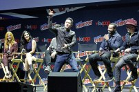 """SHADOWHUNTERS - The cast and producers of Freeform's """"Shadowhunters,"""" are featured at the COMIC CON Convention at the Jacob Javits Center in New York City on October 8, 2016. (Freeform/Lou Rocco) KATHERINE MCNAMARA, EMERAUDE TOUBIA, MATTHEW DADDARIO, HARRY SHUM JR., ISAIAH MUSTAFA, MCG"""