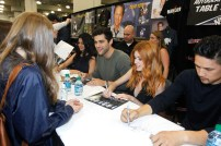 """SHADOWHUNTERS - The cast and producers of Freeform's """"Shadowhunters,"""" are featured at the COMIC CON Convention at the Jacob Javits Center in New York City on October 8, 2016. (Freeform/Lou Rocco) FANS, EMERAUDE TOUBIA, MATTHEW DADDARIO, KATHERINE MCNAMARA, HARRY SHUM JR."""