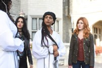 "SHADOWHUNTERS - ""Iron Sisters"" - Clary and Isabelle head to The Citadel looking for answers in ""Iron Sisters,"" an all new episode of ""Shadowhunters,"" airing MONDAY, FEBRUARY 6 (8:00 – 9:00 PM EDT) on Freeform. (Freeform/John Medland) EMERAUDE TOUBIA, FARAH MERANI, KATHERINE MCNAMARA"