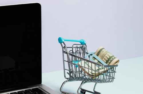 shopping cart with money on top of a laptop