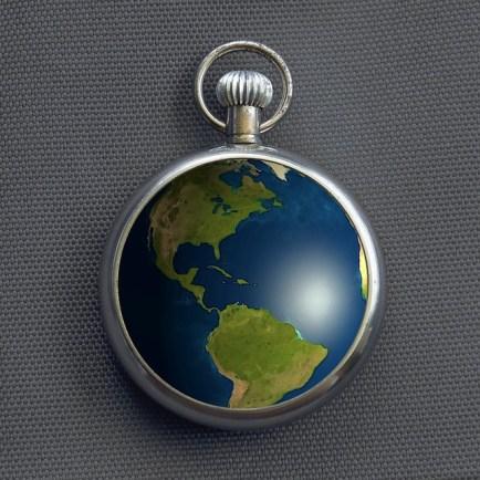 Earth Clock Pocketwatch - Public Domain