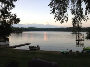 cottage is on a lake