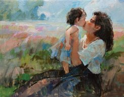 Traditional-Art-Oil-font-b-Painting-b-font-on-Stretched-Canvas-Mother-font-b-Kisses-b