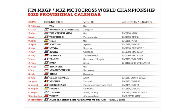 Provisional 2020 MXGP Schedule Announced