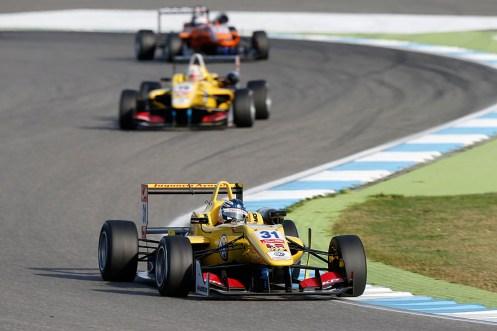 Blomqvist led Giovinazzi in a Jagonya Ayam Carlin 1-2 finish. © FIA F3 Media Services.