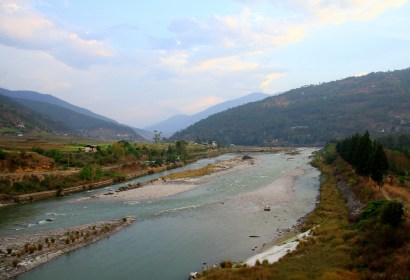 View of the Po Chu river from the Punakha Suspension bridge on a clear evening. Photo: Kaushik Naik